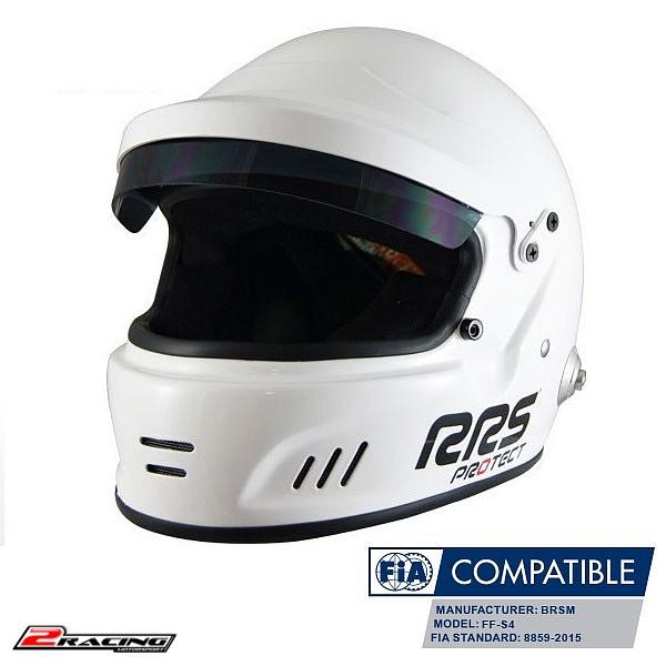 Integrální závodní helma HANS FIA 8859-2015 bílá RRS
