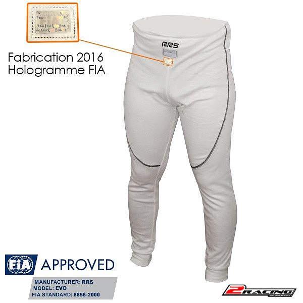 Spodní kalhoty nehořlavé FIA 8856-2000 100% Nomex bílá RRS